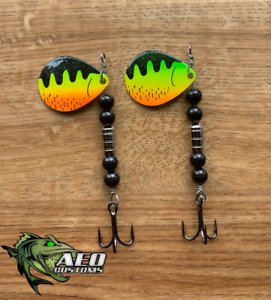 FIRETIGER 2 pack - AEO Custom Spinners 4X Strong Hook Musky Pike Trout Bass