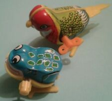 Wind-Up Toys vtg Bird and Frog litho Tin and plastic Retro Hopping Fun!