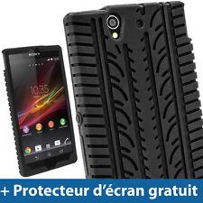 Noir Pneu Étui Housse Case Cover Silicone pour Sony Xperia Z Android Smartphone