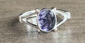 Rare Derbyshire Blue John Solid Silver Open shank Ring Size N J2637