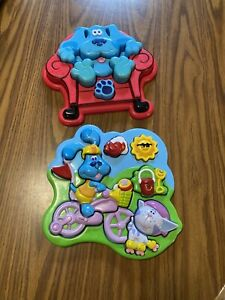 Set Of 2 Blues Clues Thinking Chunky 3D Chair Plastic Puzzle Blue Dog 1998 Tyco