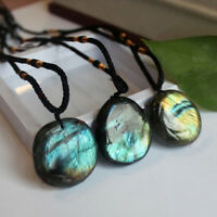 Natural Labradorite Pendant Charm Crystal Pendant Necklace Healing Stone Fashion