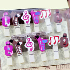 Mini Wooden Mixed Music Note Pegs Photo Cards Holder Table Party Decoration