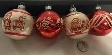 4 Vintage 1950's Christmas Ornaments 2-1/2� Size Ready To Hang