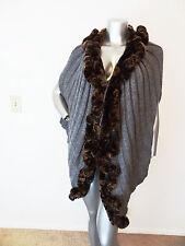ALBERTO MAKALI gray REAL RABBIT FUR TRIM knit shawl/ poncho MEDIUM M