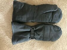 Black leather Snowmobile Mittens