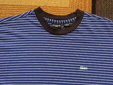 Vintage 90s Guess Jeans USA Striped Short Sleeve T shirt sz M Black Blue Ringer