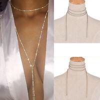 Bling Diamond Crystal Rhinestone Wrap Ribbon Choker Necklace Wedding Bridal Drop