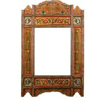 Moroccan farmhouse Orange hanging mirror frame, decor of wood, hand-painted