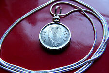 "Authentic 1992 Irish Luck Coin Pendant on a 30"" Sterling Silver Snake Chain"