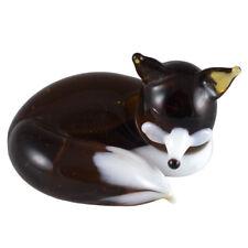 "Miniature Hand Blown Glass Amber Brown Sleeping Fox Figurine 1.5"" Long New!"