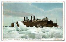 1909 Car Ferry, Sainte Marie, Battling Ice in the Straits of Mackinaw Postcard