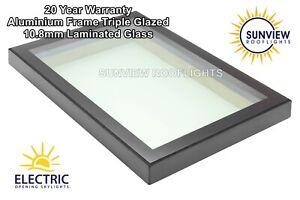 Skylight Rooflight 1500mm x 1500mm Aluminium Frame Triple Glaze 10.8mm LAMINATED