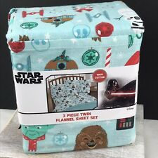 New - Star Wars Christmas Twin Flannel Sheet Set