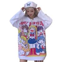 Kawaii Sailor Moon T-Shirt Anime Japan Cartoon Harajuku Pink White Cute TOP