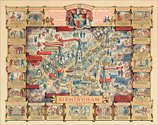 Birmingham in 1940 - a colourful pictorial map, modern reproduction