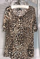 NEW Plus Size 1X Brown Blouse Leopard Animal Print Pin Tuck Jersey Knit Shirt