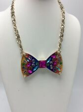 $85 Betsey Johnson gold tone Rainbow frontal necklace K1J