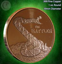 """The Rattler"" Copper 1oz .999 Fine Copper Beautiful Round"