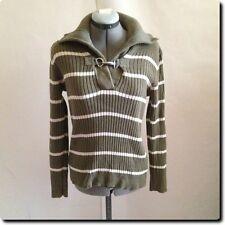 Lauren - Ralph Lauren Green and White Shawl Collar with Metal Clip Sweater