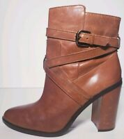 Vince Camuto Women's Brown Lether Ankle Block Heel Boots! Size 8.5