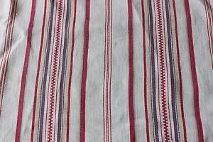 "Red French Farmhouse Antique Mattress Ticking Fabric Yardage c 1900~58""X38"""