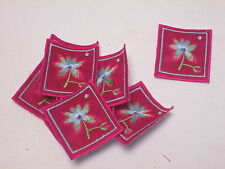 Set of 10 - Pink Embroidered Flower Patch Motif Card Making Arts Crafts #16D110
