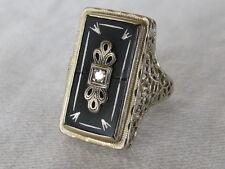 Inlaid Black Onyx Diamond 14k White Gold Filigree Antique Art Deco Ring 6.5