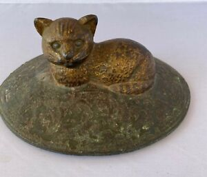 Antique Vintage Cat On Rug Doorstop Cast Iron Cat Doorstop Original Paint