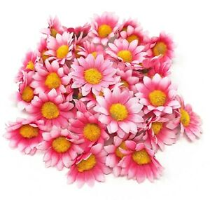Pink 35mm Mini Daisy Decorative Synthetic Flowers (Faux Silk) - UK SELLER