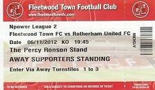 Ticket - Fleetwood Town v Rotherham United 06.11.12