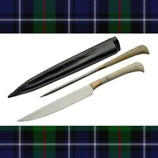 2 Piece Medieval Scottish Steak Knife & Pricker Set Bone Handles Leather Sheath