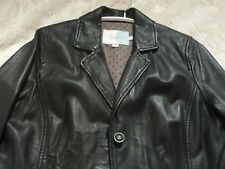 Boden Womens Black Leather Jacket Blazer Size 14