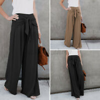 Womens Straight Leg Pants Work Office OL Basic Culottes Ladies Formal Trousers