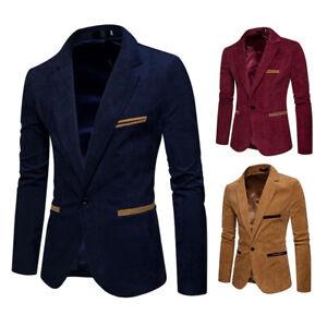 Men's Jacket Corduroy Lapel Single Button Blazer Slim Fit Blazer Fashion Special