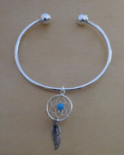 Sterling Silver Screw End Torque Bangle 63mm & 2.5mm Thick & Dream Catcher Charm