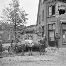 WW2  Photo WWII Dutch Children British Sherman Tank 1944 World War Two / 1603