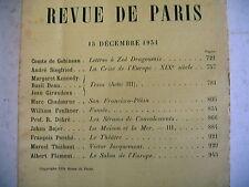 LA REVUE DE PARIS n° 24 - 1934 revue littéraire gobineau debré faulkner