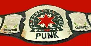 WWE CM PUNK Wrestling Championship Belt 2mm Brass Plates Leather Strap .ADULT SI