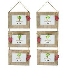 Shabby Chic rustique en bois Flotté Triple Hanging Hearts Cadre Photo-6x4 X2