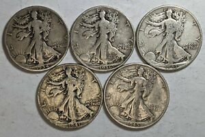 Lot of 5 Different Dates Walking Liberty Silver Half Dollars 187657p