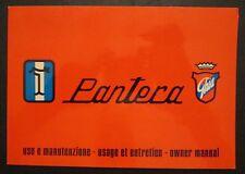 Original De Tomaso PANTERA Ghia Manual 1973 ITALIAN FRENCH ENGLISH Vintage