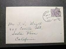 HAYWA to SANTA ROSA, CALIF 1919 Postal History Cover #537 CAL, CA