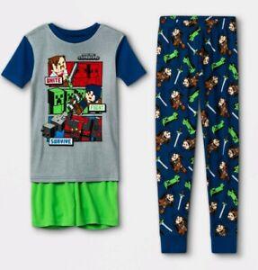 Minecraft Boy's 3-Piece Pajamas Set (Size 6) Dungeons NWT