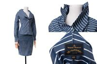 Women's Vivienne Westwood Anglomania Blue White Stripe Long Sleeve Shirt Top 40