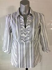 SIZE 14 M&S PETITE WHITE PURPLE WOVEN STRIPE FITTED BLOUSE GOTH STEAMPUNK WHITBY