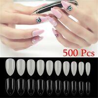 Full Cover Acrylic False Nails Pointy Oval Shape Nail Art Patch Almond Stiletto