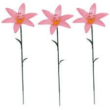 Pack Of 3 Pink Lilly Stargazer Mini Flower Stakes Brightly Painted By Fountasia