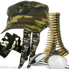 Para Mujer ejército Soldado Kit PAC Bala cinturón calcetines Pulsera Gafas Fancy Dress Camo