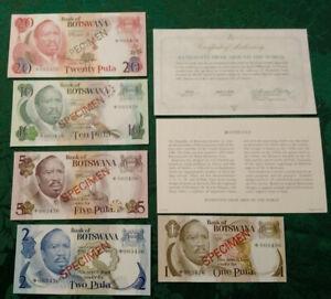 BOTSWANA 1979 1 - 20 Pula Complete 5 Specimen Set CS1 P 1-5 UNC 003436 COA